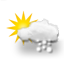 mostly cloudy, light snow