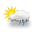 mostly cloudy, light drizzle