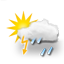 mostly cloudy, thunderstorms