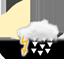 nuageux, fort orage avec grêle