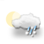 mostly cloudy, sleety showers