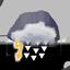 couvert, fort orage avec grêle