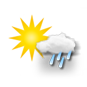 mainly sunny, light rain
