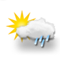 mostly cloudy, light rain showers