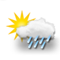 mostly cloudy, heavy rain showers